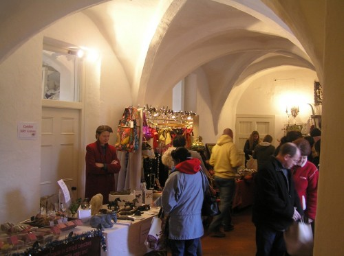 Christmas stalls in the medieval undercroft